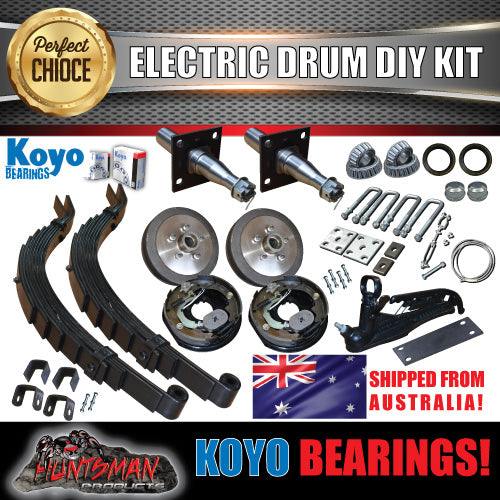DIY 1400KG Trailer Kit. Slipper Springs Electric Drum Brakes. Stub Axles. KOYOS