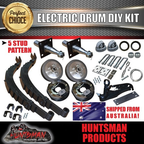 DIY 1400KG Trailer Kit. Slipper Springs Electric Drum Brakes. Stub Axles