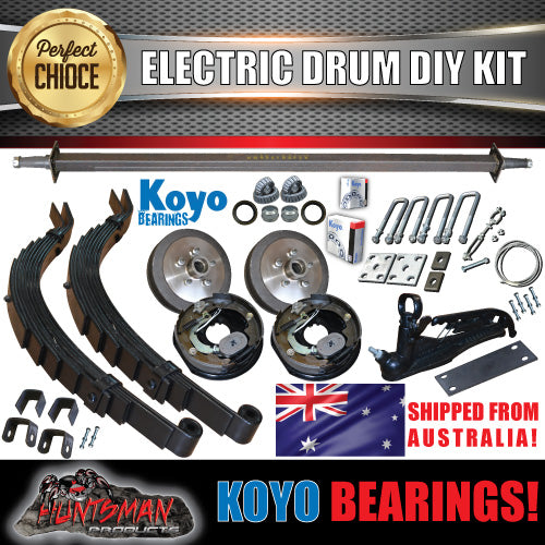 DIY 1400KG Trailer Kit. Slipper Springs Electric Drum Brake. s.g Cast Drums KOYOS