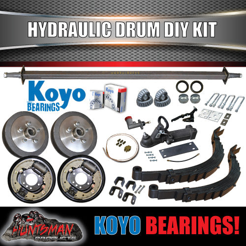 DIY Trailer Kit 1400Kg Rated Hydraulic drum Braked Slipper Springs. Jap Bearings