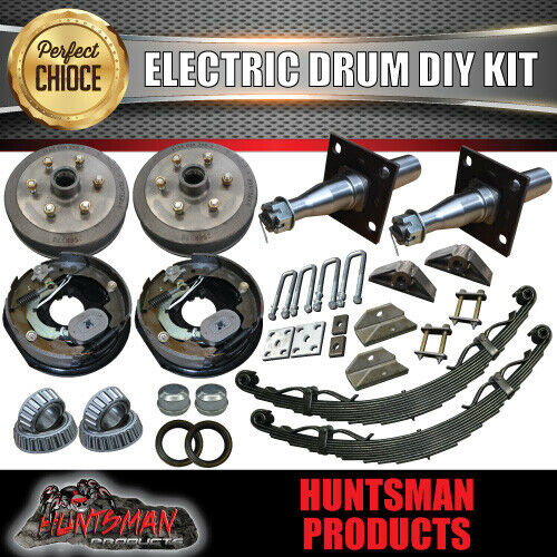 "2000KG DIY Off Road Trailer Kit. Outback Springs, 12"" Electric Brakes Stub Axles"