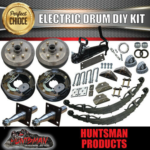 1600KG DIY Off Road Trailer Kit. Electric Brakes. Outback Springs, Stub Axles