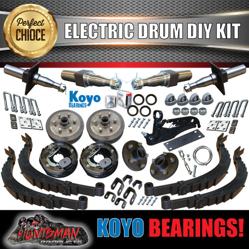 DIY 2000kg Tandem Trailer Kit. Electric Brakes Stub Axles, Slipper Springs Koyo