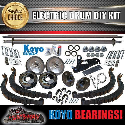 DIY 2000kg Tandem Trailer Kit Electric Brakes slipper Springs Japanese Bearings