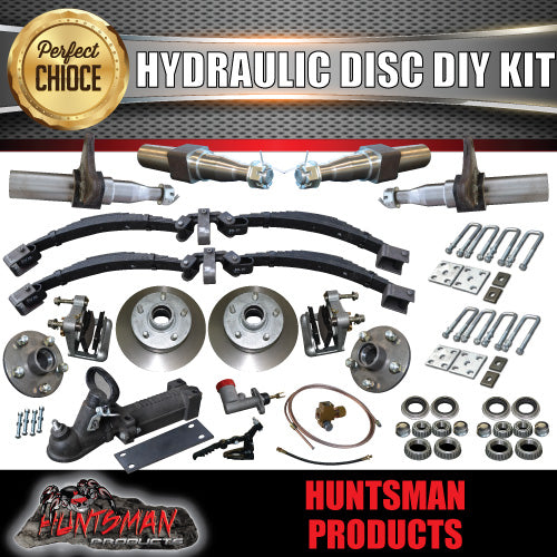 DIY 2000KG TANDEM KIT HYDRAULIC DISC BRAKES ROCKER ROLLER STUB AXLES