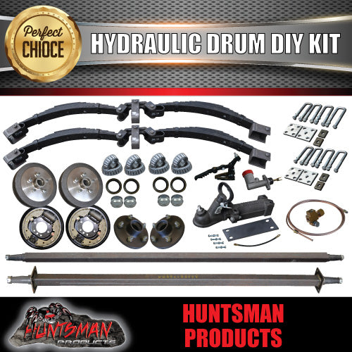 "DIY 2000KG TANDEM KIT, AXLES, SPRINGS, HYDRAULIC DRUM BRAKES. AXLE LENGTHS 81""- 96"""