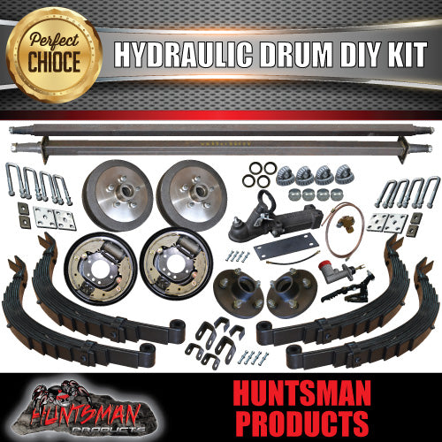 "DIY 2000KG TANDEM TRAILER KIT, AXLES, SPRINGS, BRAKES. AXLE LENGTHS 81""- 96"""