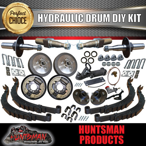 DIY 2000kg GVM TANDEM TRAILER KIT, SPRINGS HYDRAULIC DRUM BRAKES. STUB AXLES