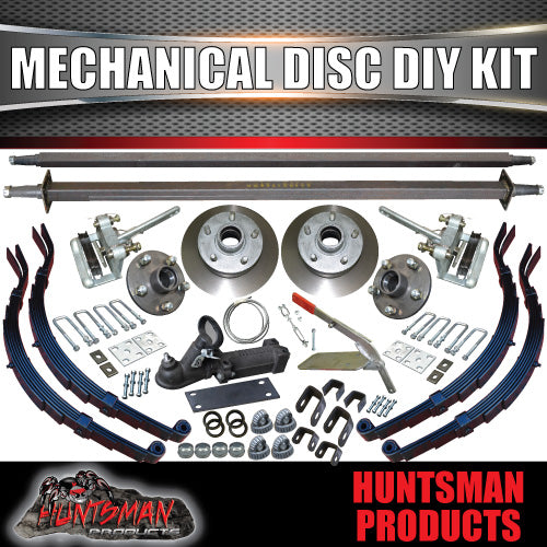 "DIY 2000kg Tandem Trailer Suspension Kit 10"" Mechanical Disc Slipper Springs"
