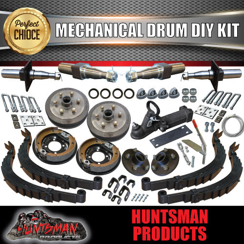DIY 2000Kg Tandem Trailer Kit, Mechanical Brakes, Slipper Springs Stub Axles
