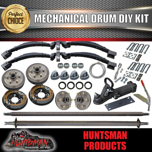 "DIY 2000Kg Tandem Trailer Kit, Mechanical Brakes R/Roller Springs Axles 81""- 96"""