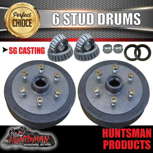 "2X Trailer 10"" Drums Suit 6 Stud Landcruiser. 6/139.7 PCD & S/L (Ford) Bearings."