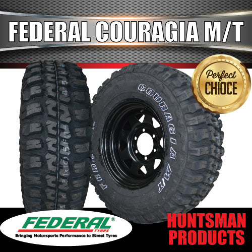"31X10.5R15L/T FEDERAL COURAGIA ON 15"" BLACK STEEL RIM"