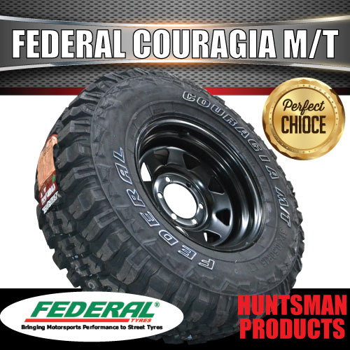 "30X9.5R15 L/T FEDERAL COURAGIA M/T on 15"" BLACK STEEL WHEEL"
