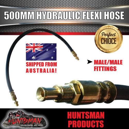 1x TRAILER HYDRAULIC RUBBER FLEXI BRAKE HOSE. 500MM. MALE / MALE.