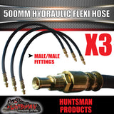 3x TRAILER HYDRAULIC RUBBER FLEXI BRAKE HOSE. 500MM. MALE / MALE.