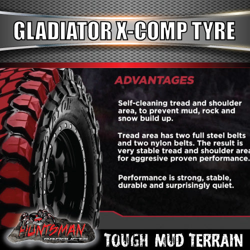 "35X12.5R17 L/T Gladiator X-COMP Mud Tyre on 17"" Black Steel Rim. 35 12.5 17"