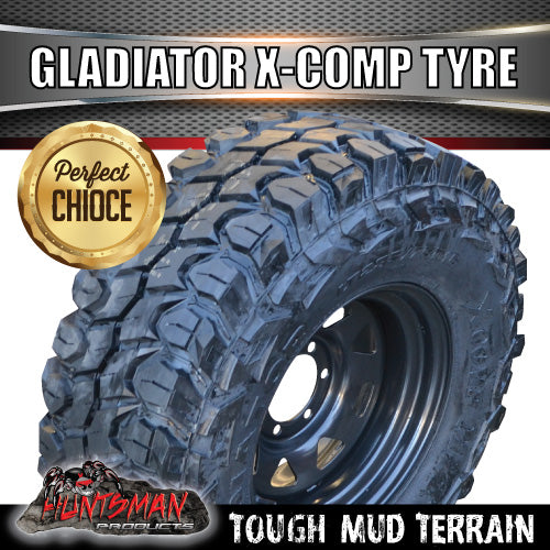 "265/70R17 L/T Gladiator X-COMP Mud Tyre on 17"" Black Steel Rim. 265 70 17"