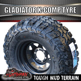 "31x10.5R15 L/T Gladiator X-COMP Mud Tyre on 15"" Black Rim. 31 10.5 15"