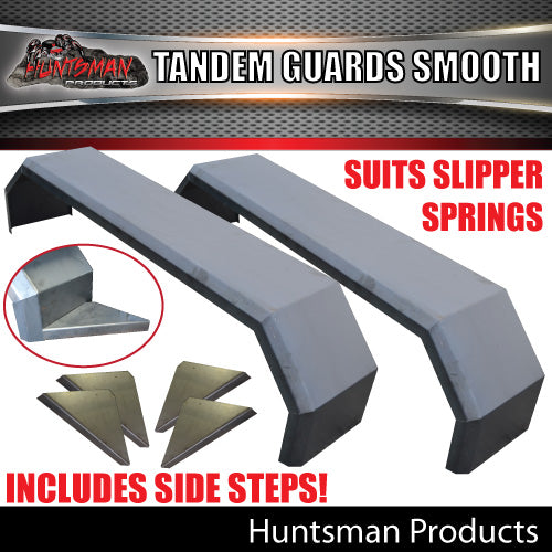 x2 Tandem Smooth Trailer Caravan Mudguards & Steps 250mm Suit Slipper Springs