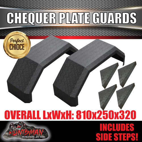 SINGLE AXLE 250M GUARDS & STEPS-CHEQUER PLATE STEEL