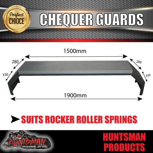 TANDEM 330MM GUARDS - OFF ROAD - CHEQUER PLATE - ROCKER ROLLER SPRINGS