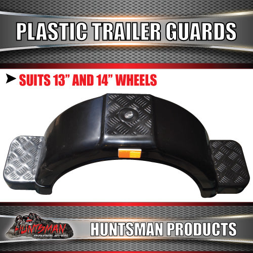 x2 Boat Trailer Black Plastic Trailer Mudguard & Steps Suit 13