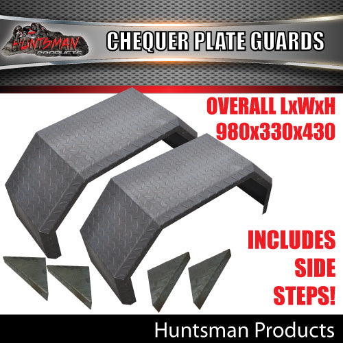 TRAILER GUARDS & STEPS-OFF ROAD-SINGLE AXLE-CHEQUER STEEL FINISH