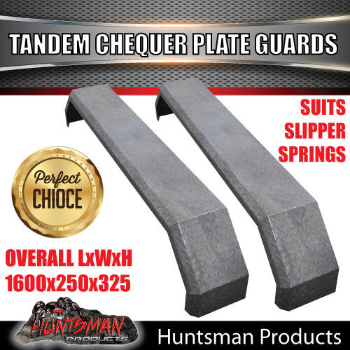 TRAILER GUARDS- TANDEM- 250mm WIDE- CHEQUER PLATE- SLIPPER SPRINGS- WITH STEPS