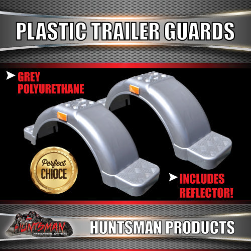 "x2 Boat Trailer Grey Plastic Trailer Mudguard & Steps Suit 13"" or 14"" Wheels"