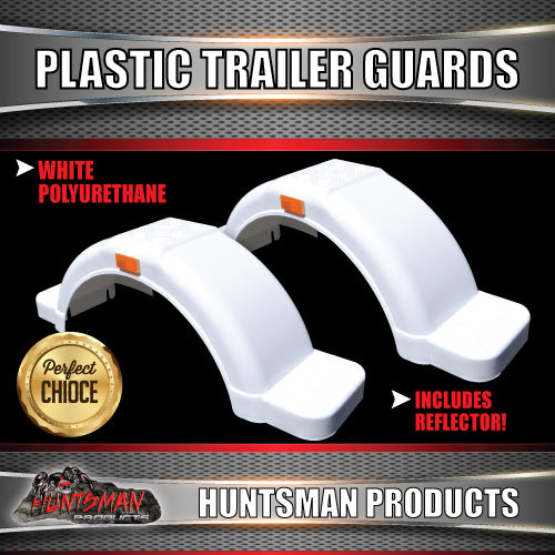 "x2 Boat Trailer White Plastic Trailer Mudguard & Steps Suit 13"" or 14"" Wheels"