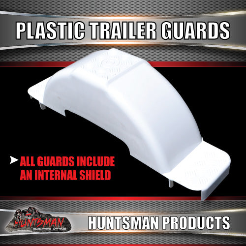 x2 Boat Trailer White Plastic Trailer Mudguard & Steps Suit 13