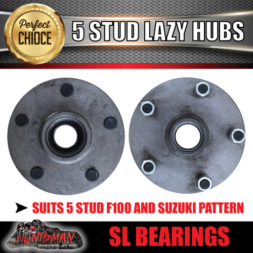 pair 5 stud trailer hubs 5/139.7 suit F100 & Suzuki with S/L bearings