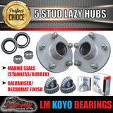 GALVANISED HT HOLDEN LAZY TRAILER HUBS 5/108 PCD WITH KOYO LM BEARINGS