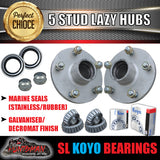 GALVANISED HT HOLDEN LAZY TRAILER HUBS 5/108 PCD WITH SLIMLINE KOYO BEARINGS