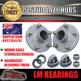 GALVANISED HOLDEN COMMODORE LAZY TRAILER HUBS 5/120 WITH LM BEARINGS
