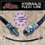 1x TRAILER HYDRAULIC RUBBER FLEXI BRAKE HOSE. 400MM. MALE/FEMALE.
