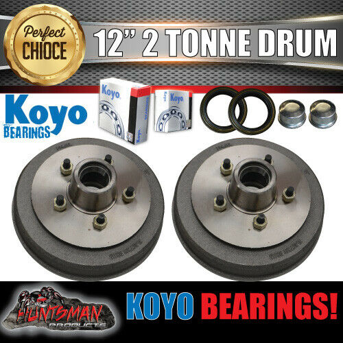 "2x 12"" 2 Tonne 5 Stud Electric Trailer Brake Drums & Japanese KOYO Bearings"