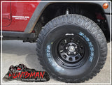 "16x8"" BLACK JEEP SUNRAYSIA STEEL RIM- 5 STUD, -25 OFFSET"