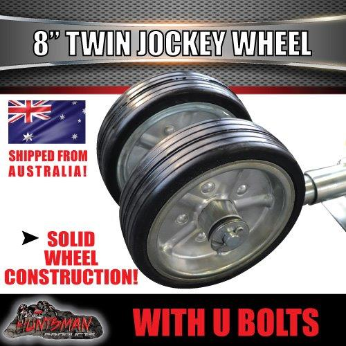 "TWIN 8"" JOCKEY WHEEL. SWING UP. SOLID WHEELS. 1200kg With 75x50 Mounting U Bolts"
