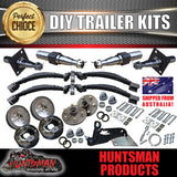 DIY TANDEM TRAILER KIT.  2000KG RATED. STUB AXLES ELECTRIC BRAKES, ROCKER ROLLER SUSPENSION.