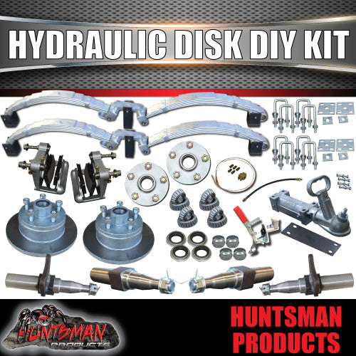 DIY 2000Kg Hydraulic Disc Braked Boat trailer Kit. Rocker Roller, Stub Axles