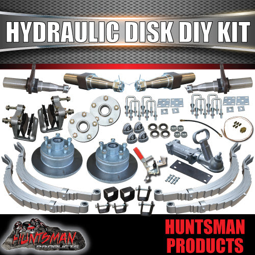 DIY 2000Kg Hydraulic Disc Braked Boat trailer Kit. Stub Axles, Slipper Springs
