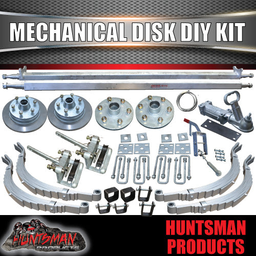 "DIY 2000Kg Mechanical Disc Braked Kit. 12"" L/C Discs. Slipper Springs"