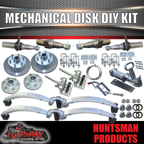 "DIY 2000Kg 12"" L/C Mechanical Disc Braked Kit. Stub Axles, Rocker Roller"