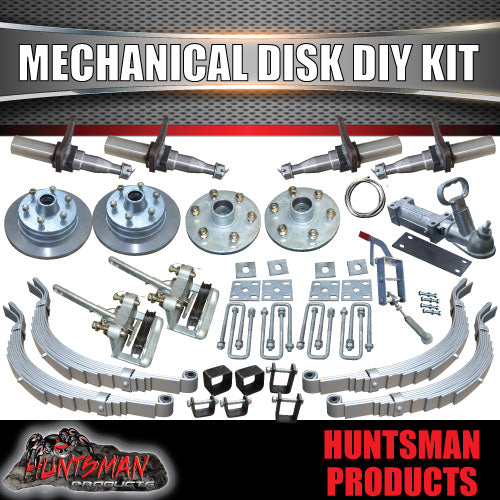 "DIY 2000Kg 12"" L/C Mechanical Disc Braked Kit. Stub Axles, Slippers"