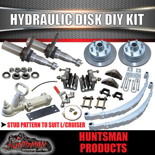"DIY 1400kg Kit, 12"" L/C Hydraulic Disc Brakes, Eye to Eye Springs Stub Axles"