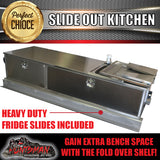 STAINLESS STEEL CAMPER TRAILER SLIDE OUT KITCHEN. 2 DRAWERS, SINK, TAP
