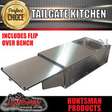STAINLESS STEEL CAMPER TRAILER KITCHEN. 2 DRAWERS, SINK, INTERCHANGABLE SHELF