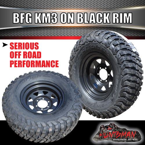 "31X10.5R15 L/T BF Goodrich KM3 on 15"" Black Steel Rim"